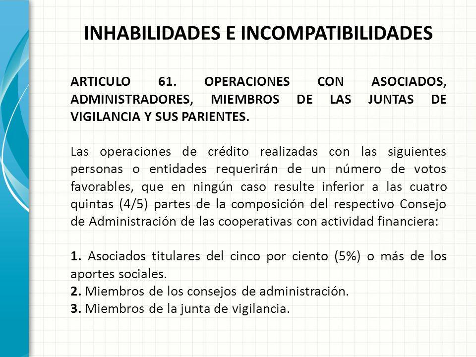 INHABILIDADES E INCOMPATIBILIDADES ARTICULO 60. INCOMPATIBILIDADES DE LOS MIEMBROS DE JUNTAS DE VIGILANCIA Y CONSEJOS DE ADMINISTRACION. PARAGRAFO 1o.