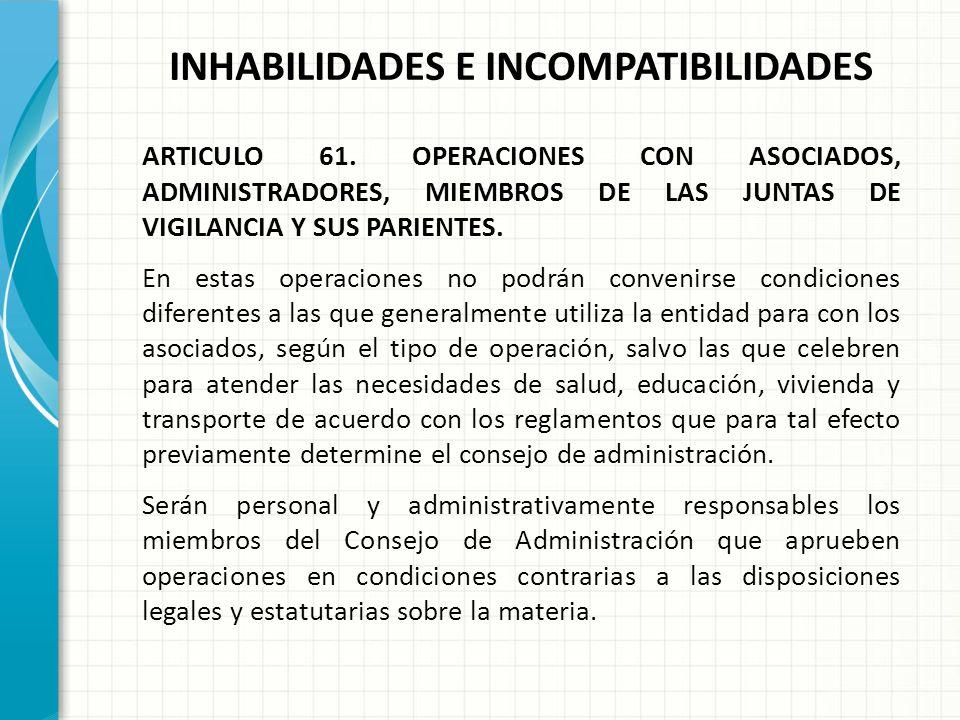 INHABILIDADES E INCOMPATIBILIDADES ARTICULO 61. OPERACIONES CON ASOCIADOS, ADMINISTRADORES, MIEMBROS DE LAS JUNTAS DE VIGILANCIA Y SUS PARIENTES. 4. R