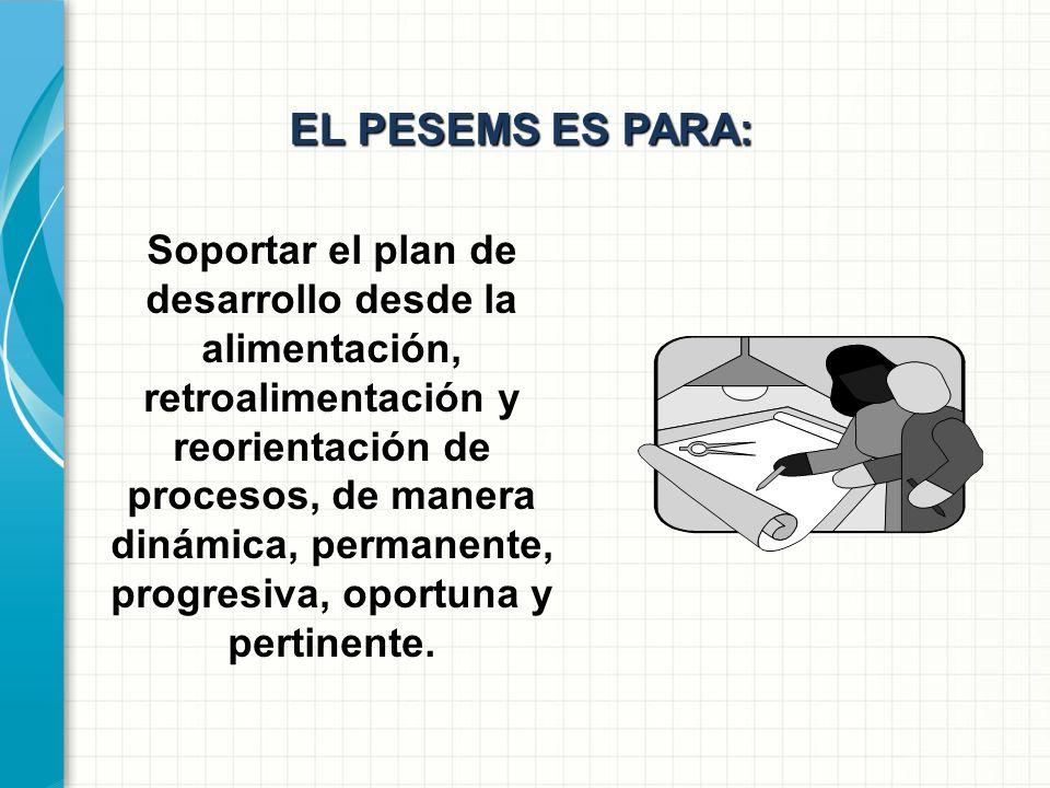 EL PESEMS ES: Es el proyecto transversal, que soporta, como proceso permanente la ejecución del plan de desarrollo desde sus diversos, entrelazados e