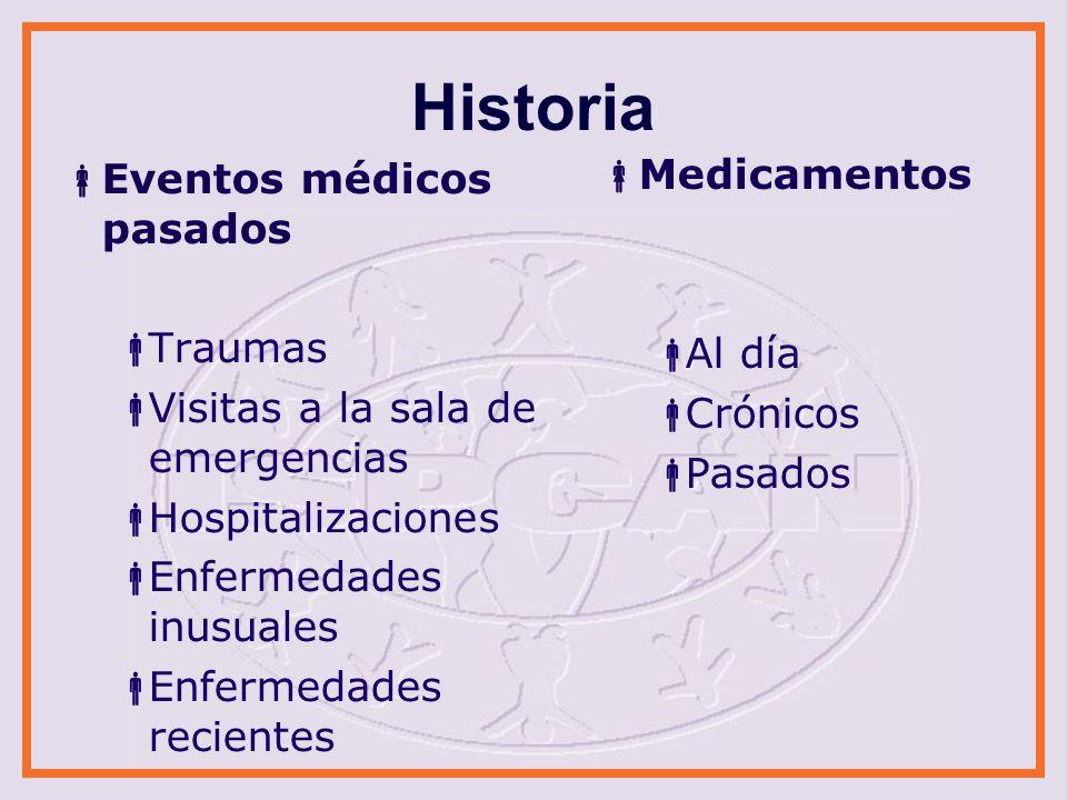 Historia Revisión de sistemas Red de seguridad histórica Historia medica familiar Desórdenes de colágeno Desórdenes sanguíneos Medicinas en el hogar