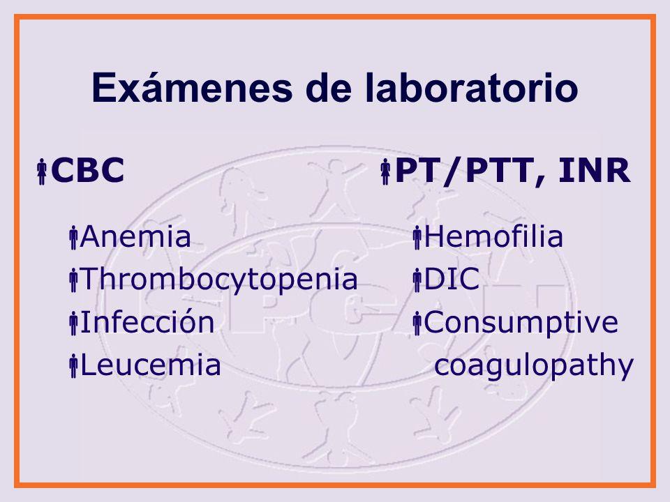 Exámenes de laboratorio Otros de coagulación Von Willebrands disease panel Factor levels Thrombophilia Químicos básicos Hypo/hyper- natremia Insuficiencia renal
