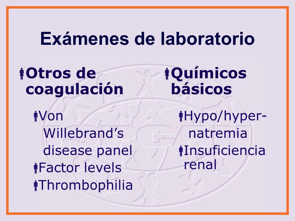 Exámenes de laboratorio ALT, AST, Amylase, Lipase Lesiones internas Urinalysis Enfermedades renales Lesiones internas