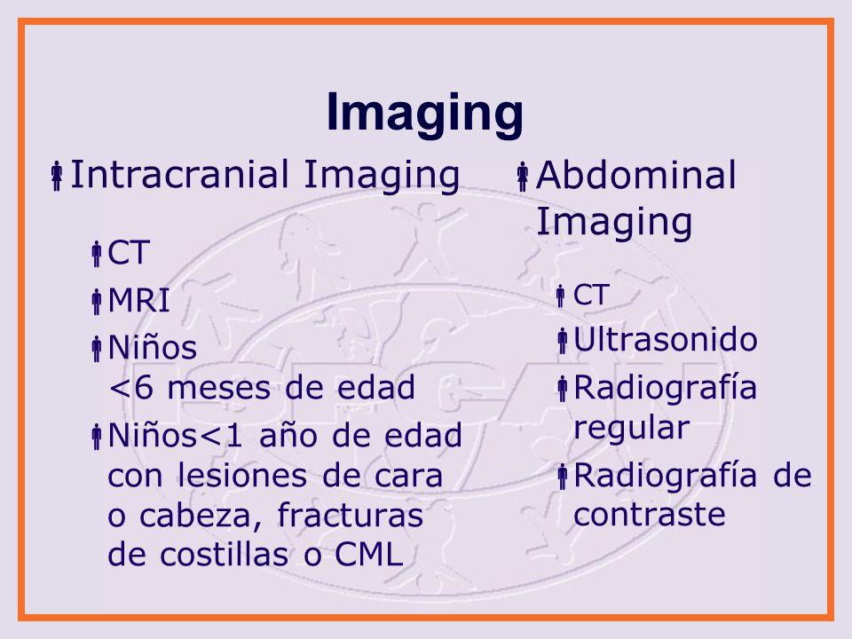 Imaging Intracranial Imaging CT MRI Niños <6 meses de edad Niños<1 año de edad con lesiones de cara o cabeza, fracturas de costillas o CML Abdominal I