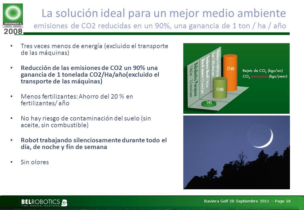 Baviera Golf 28 Septiembre 2011 – Page 18 La solución ideal para un mejor medio ambiente emisiones de CO2 reducidas en un 90%, una ganancia de 1 ton / ha / año Tres veces menos de energía (excluido el transporte de las máquinas) Reducción de las emisiones de CO2 un 90% una ganancia de 1 tonelada CO2/Ha/año(excluido el transporte de las máquinas) Menos fertilizantes: Ahorro del 20 % en fertilizantes/ año No hay riesgo de contaminación del suelo (sin aceite, sin combustible) Robot trabajando silenciosamente durante todo el día, de noche y fin de semana Sin olores