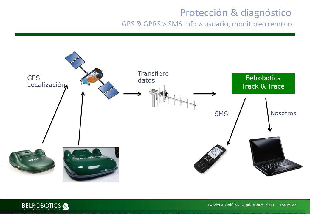 Baviera Golf 28 Septiembre 2011 – Page 27 Protección & diagnóstico GPS & GPRS > SMS Info > usuario, monitoreo remoto GPS Localización Transfiere datos Belrobotics Track & Trace Nosotros SMS