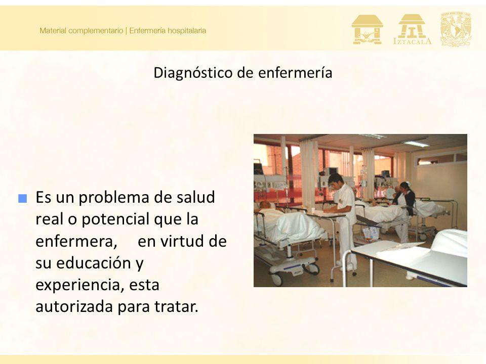 Diagnóstico de enfermería Es un problema de salud real o potencial que la enfermera, en virtud de su educación y experiencia, esta autorizada para tra