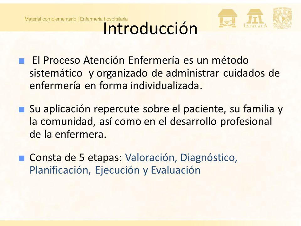 Introducción El Proceso Atención Enfermería es un método sistemático y organizado de administrar cuidados de enfermería en forma individualizada. Su a