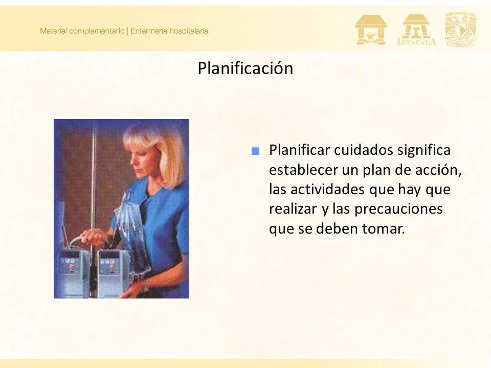 Planificación Planificar cuidados significa establecer un plan de acción, las actividades que hay que realizar y las precauciones que se deben tomar.
