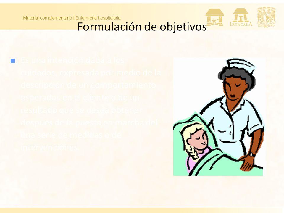 Formulación de objetivos Es una intención dada a los cuidados, expresada por medio de la descripción de un comportamiento esperados en el cliente o de