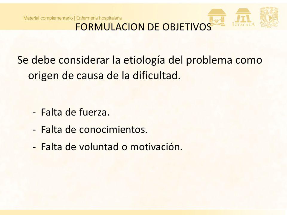 FORMULACION DE OBJETIVOS Se debe considerar la etiología del problema como origen de causa de la dificultad. - Falta de fuerza. - Falta de conocimient