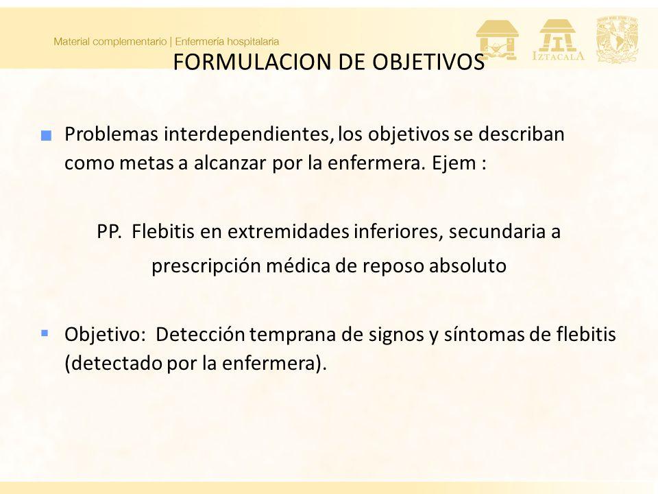 FORMULACION DE OBJETIVOS Problemas interdependientes, los objetivos se describan como metas a alcanzar por la enfermera. Ejem : PP. Flebitis en extrem