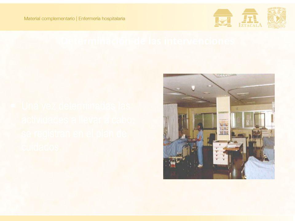 Determinación de las intervenciones Una vez determinadas las actividades a llevar a cabo, se registran en el plan de cuidados.
