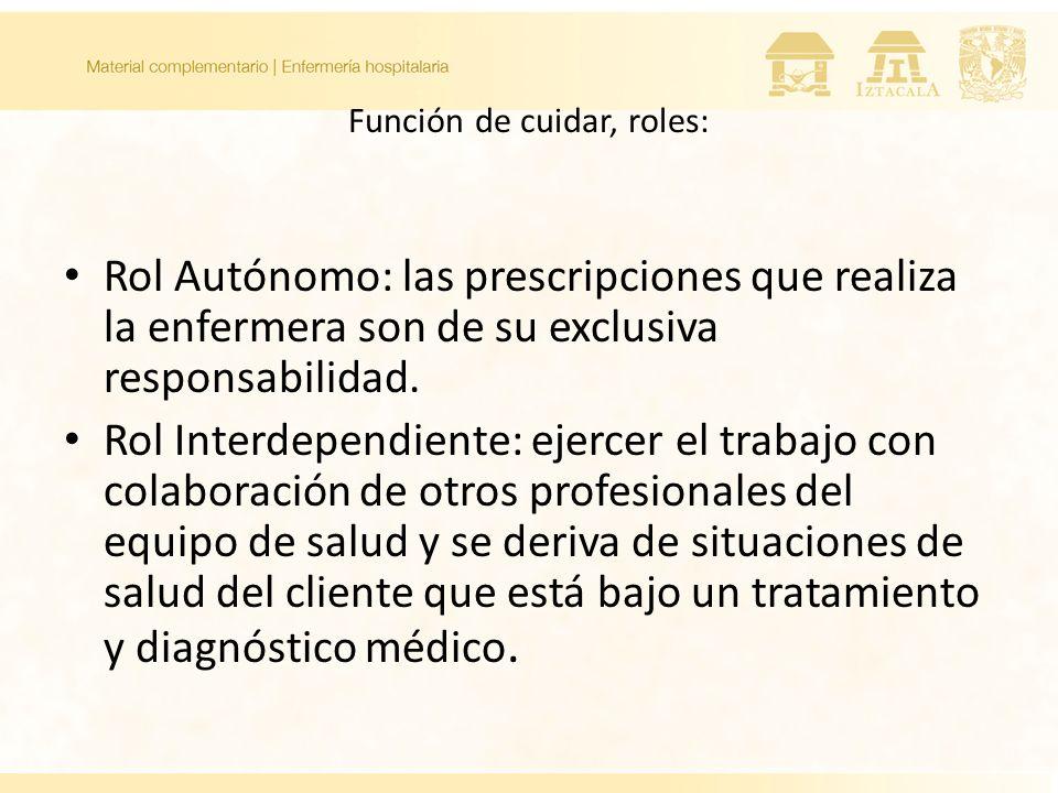 Función de cuidar, roles: Rol Autónomo: las prescripciones que realiza la enfermera son de su exclusiva responsabilidad. Rol Interdependiente: ejercer