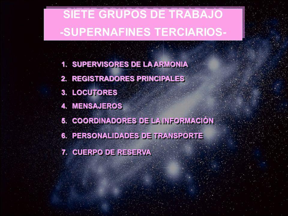 -SUPERNAFINES TERCIARIOS- SIETE GRUPOS DE TRABAJO -SUPERNAFINES TERCIARIOS- 1.SUPERVISORES DE LA ARMONIA 2.REGISTRADORES PRINCIPALES 3.LOCUTORES 4.MEN