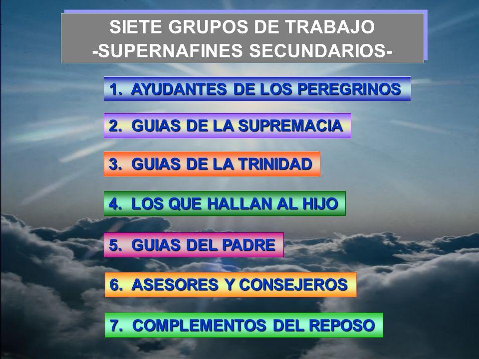 -SUPERNAFINES SECUNDARIOS- SIETE GRUPOS DE TRABAJO -SUPERNAFINES SECUNDARIOS- 1. AYUDANTES DE LOS PEREGRINOS 3. GUIAS DE LA TRINIDAD 4. LOS QUE HALLAN