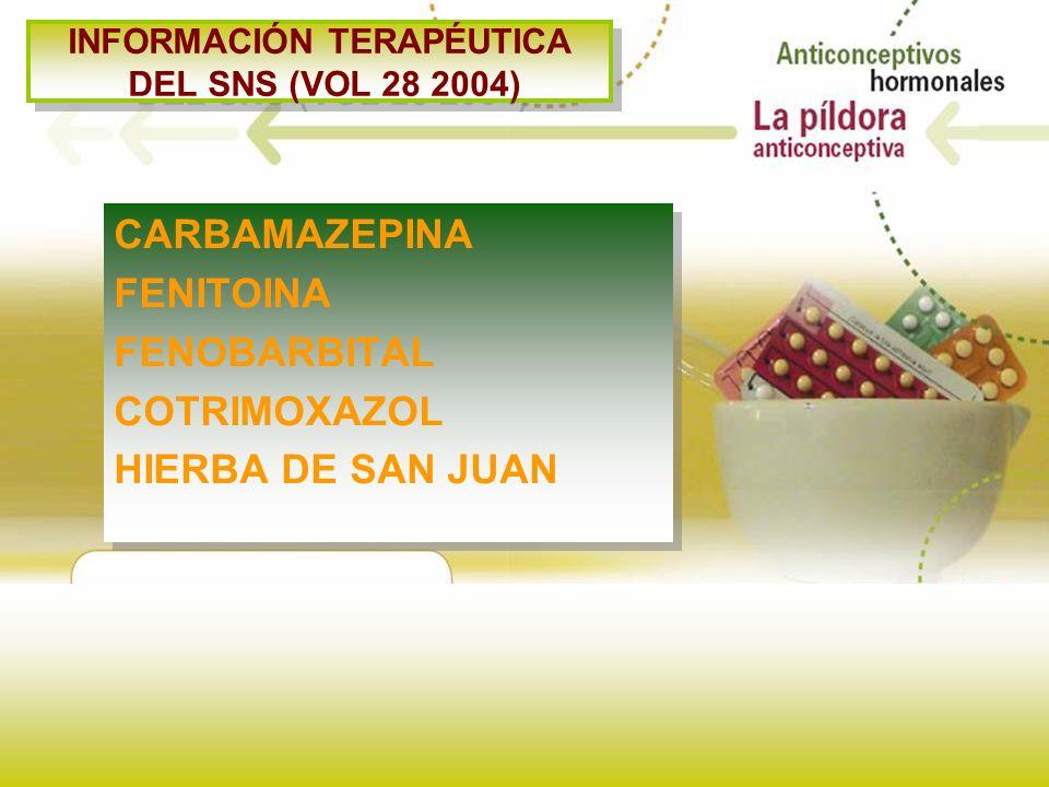 INFORMACIÓN TERAPÉUTICA DEL SNS (VOL 28 2004) CARBAMAZEPINA FENITOINA FENOBARBITAL COTRIMOXAZOL HIERBA DE SAN JUAN CARBAMAZEPINA FENITOINA FENOBARBITA