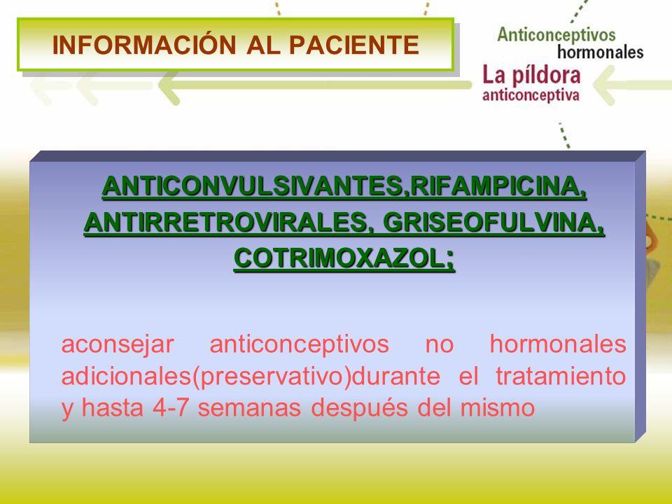INFORMACIÓN AL PACIENTE ANTICONVULSIVANTES,RIFAMPICINA, ANTIRRETROVIRALES, GRISEOFULVINA, COTRIMOXAZOL ; aconsejar anticonceptivos no hormonales adici