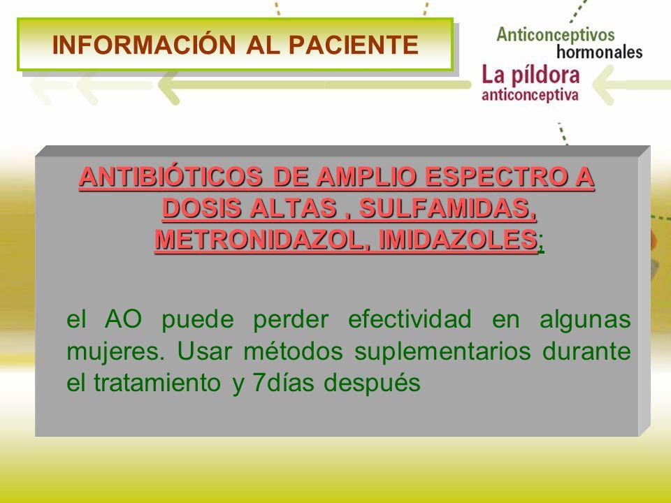 INFORMACIÓN AL PACIENTE ANTIBIÓTICOS DE AMPLIO ESPECTRO A DOSIS ALTAS, SULFAMIDAS, METRONIDAZOL, IMIDAZOLES ANTIBIÓTICOS DE AMPLIO ESPECTRO A DOSIS AL