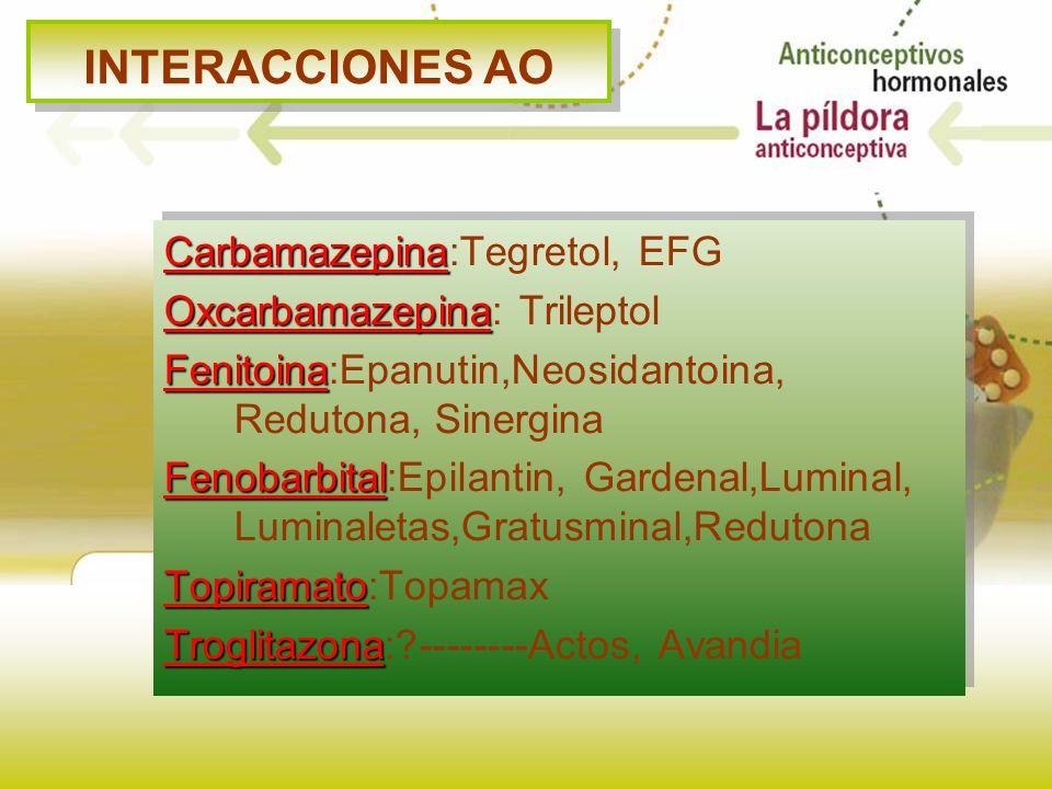 INTERACCIONES AO Carbamazepina Carbamazepina:Tegretol, EFG Oxcarbamazepina Oxcarbamazepina: Trileptol Fenitoina Fenitoina:Epanutin,Neosidantoina, Redu