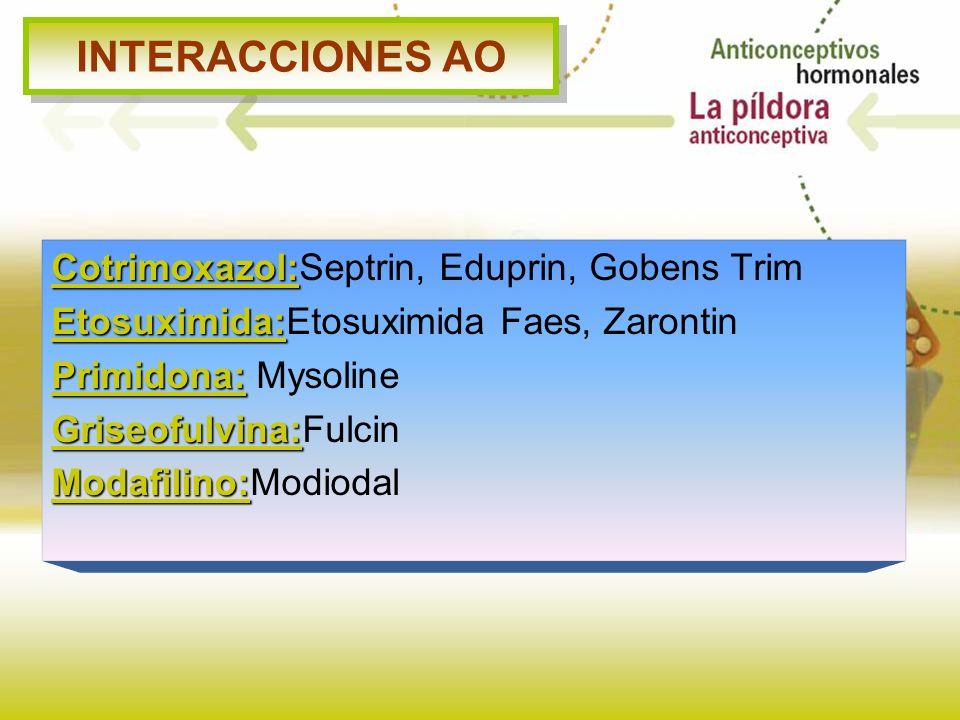 INTERACCIONES AO Cotrimoxazol: Cotrimoxazol:Septrin, Eduprin, Gobens Trim Etosuximida: Etosuximida:Etosuximida Faes, Zarontin Primidona: Primidona: My