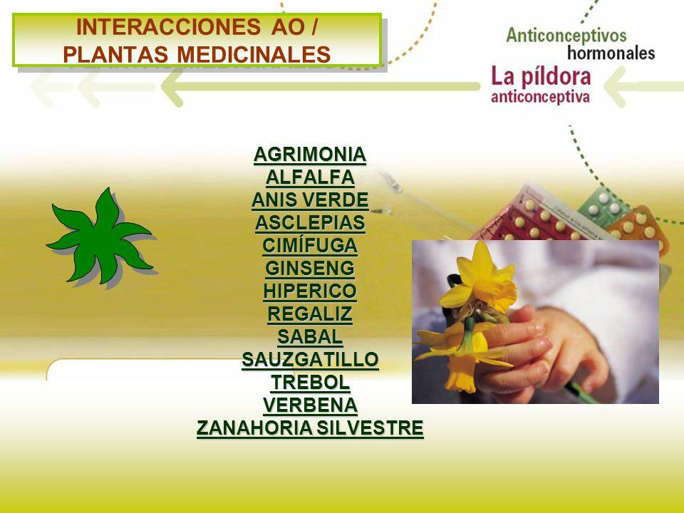INTERACCIONES AO / PLANTAS MEDICINALES AGRIMONIAALFALFA ANIS VERDE ASCLEPIASCIMÍFUGAGINSENGHIPERICOREGALIZSABALSAUZGATILLOTREBOLVERBENA ZANAHORIA SILV