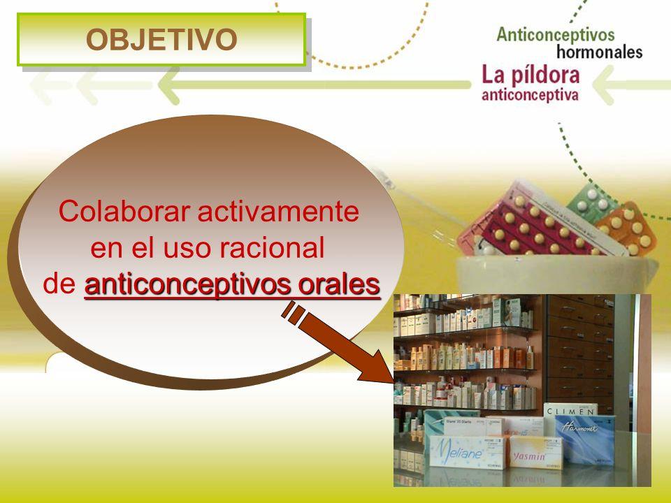 OBJETIVO Colaborar activamente en el uso racional anticonceptivos orales de anticonceptivos orales