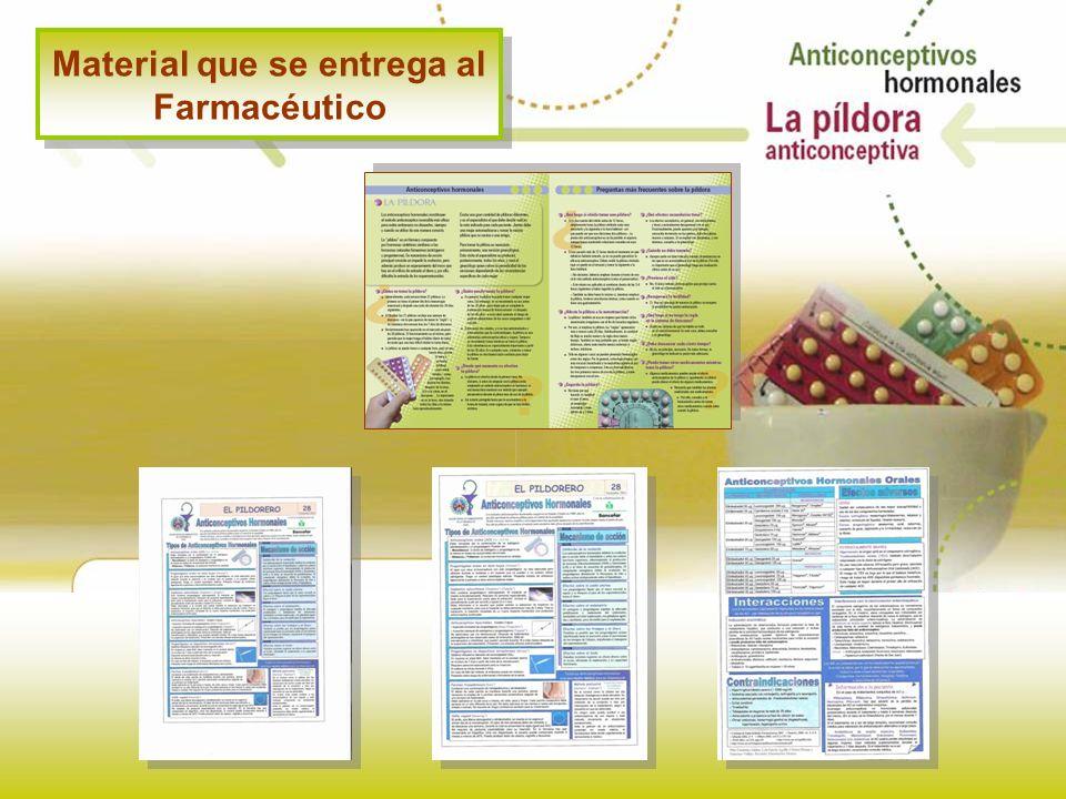 Material que se entrega al Farmacéutico