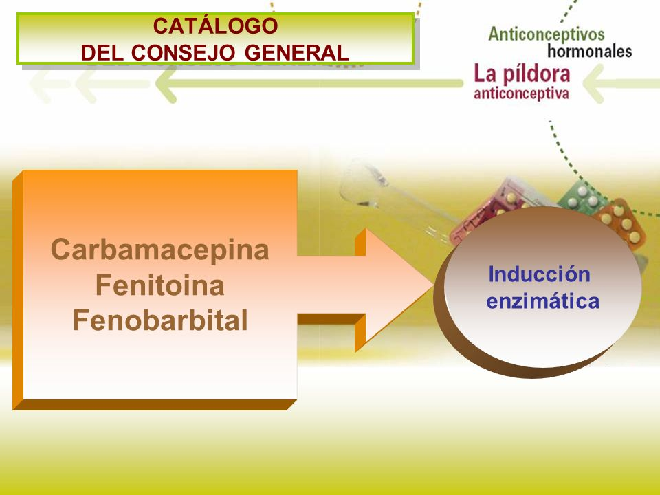 CATÁLOGO DEL CONSEJO GENERAL Carbamacepina Fenitoina Fenobarbital Inducción enzimática