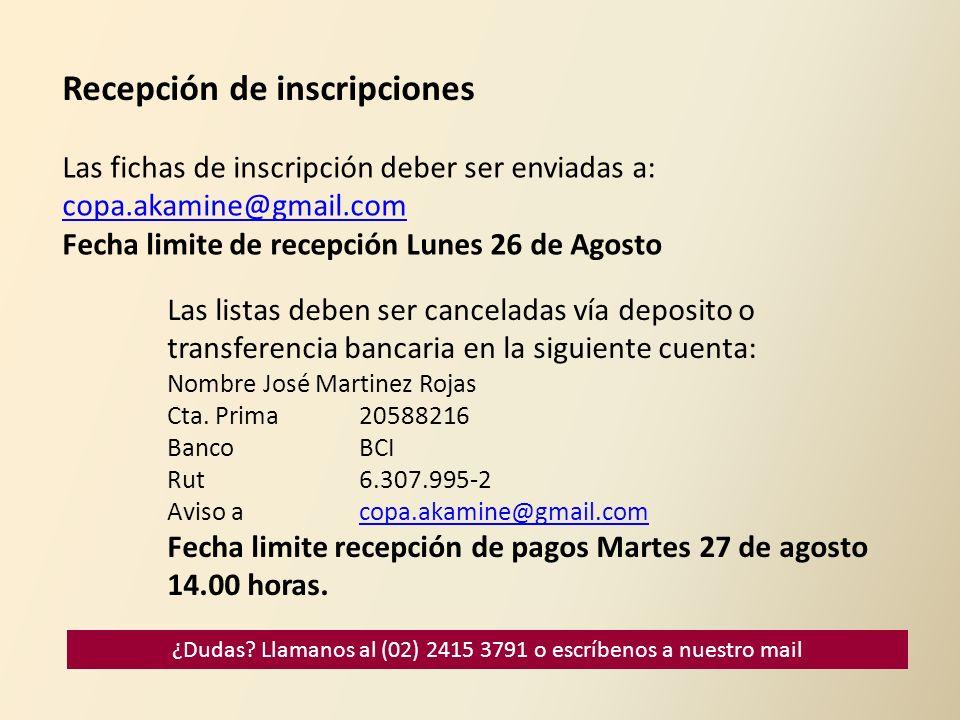 Recepción de inscripciones Las fichas de inscripción deber ser enviadas a: copa.akamine@gmail.com Fecha limite de recepción Lunes 26 de Agosto Las lis