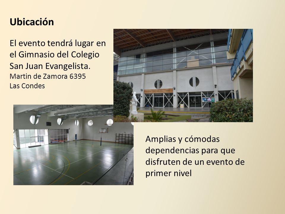 El evento tendrá lugar en el Gimnasio del Colegio San Juan Evangelista. Martin de Zamora 6395 Las Condes Amplias y cómodas dependencias para que disfr