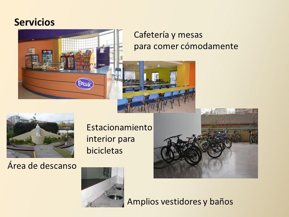 Cafetería y mesas para comer cómodamente Estacionamiento interior para bicicletas Área de descanso Servicios Amplios vestidores y baños