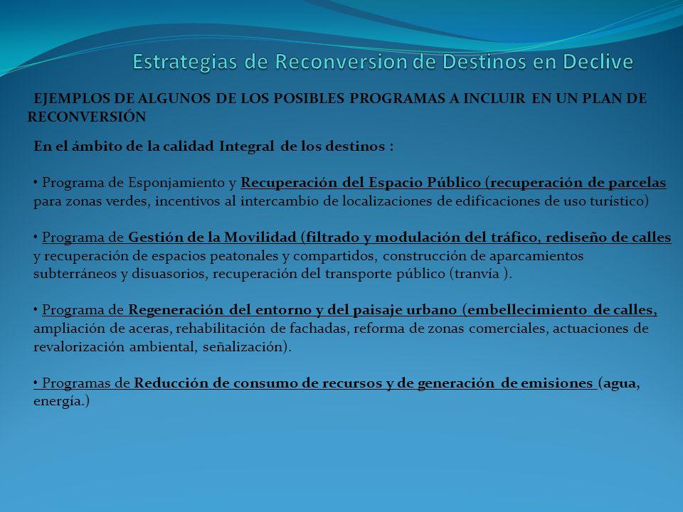 EJEMPLOS DE ALGUNOS DE LOS POSIBLES PROGRAMAS A INCLUIR EN UN PLAN DE RECONVERSIÓN En el ámbito de la calidad Integral de los destinos : Programa de E