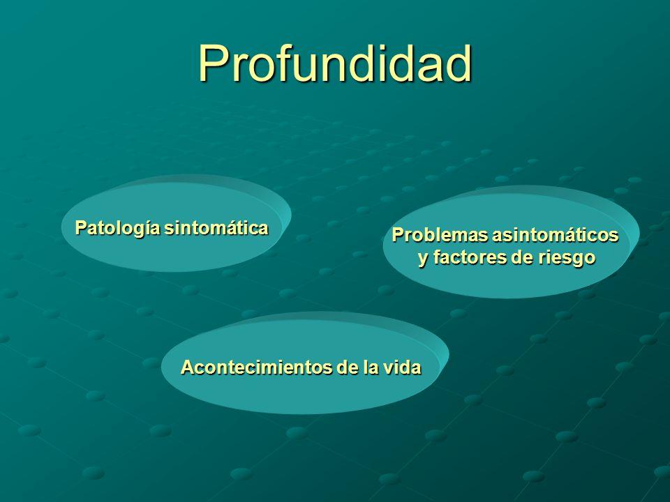 Profundidad Patología sintomática Problemas asintomáticos y factores de riesgo Acontecimientos de la vida