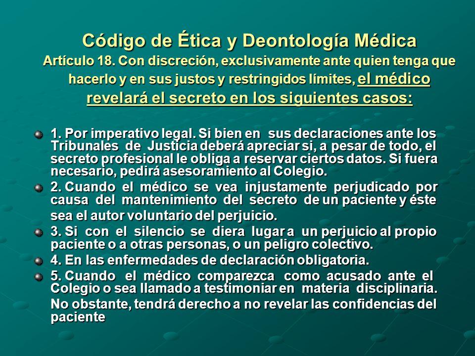 Código de Ética y Deontología Médica Artículo 18.