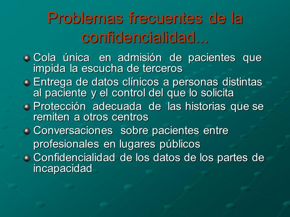 Problemas frecuentes de la confidencialidad...