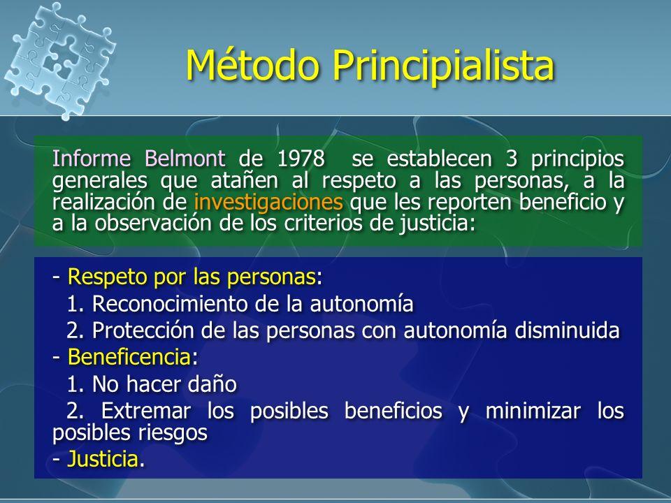 Informe Belmont de 1978 se establecen 3 principios generales que atañen al respeto a las personas, a la realización de investigaciones que les reporten beneficio y a la observación de los criterios de justicia: - Respeto por las personas: 1.