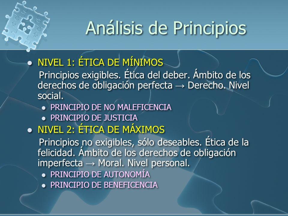 Análisis de Principios NIVEL 1: ÉTICA DE MÍNIMOS Principios exigibles.
