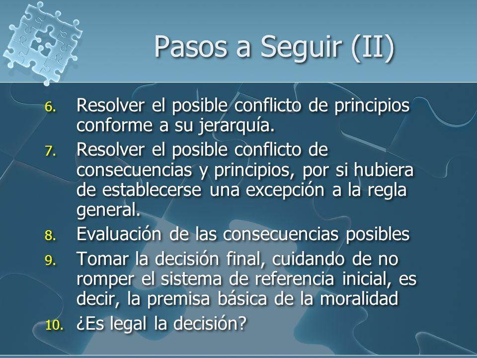 Pasos a Seguir (II) 6. Resolver el posible conflicto de principios conforme a su jerarquía.
