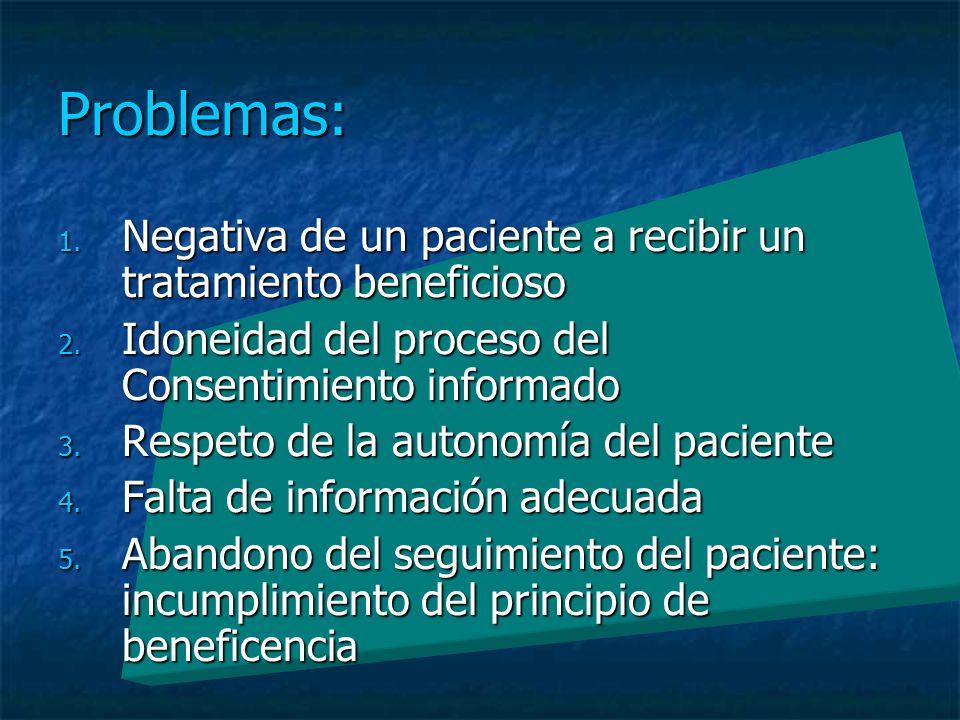 Problemas: 1. Negativa de un paciente a recibir un tratamiento beneficioso 2.