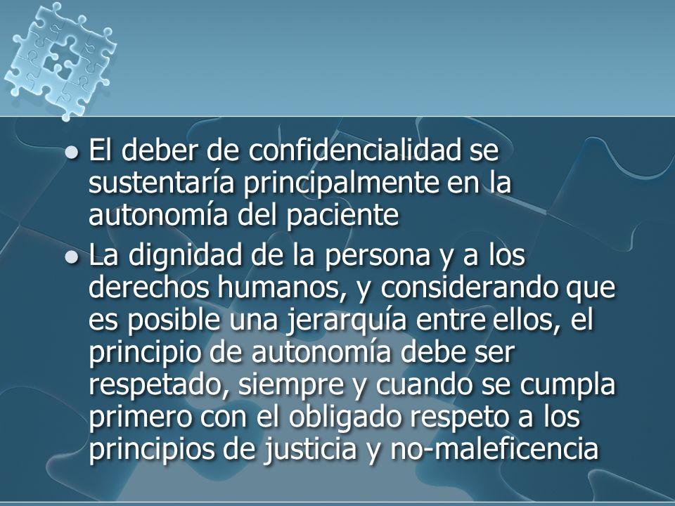 El deber de confidencialidad se sustentaría principalmente en la autonomía del paciente La dignidad de la persona y a los derechos humanos, y considerando que es posible una jerarquía entre ellos, el principio de autonomía debe ser respetado, siempre y cuando se cumpla primero con el obligado respeto a los principios de justicia y no-maleficencia El deber de confidencialidad se sustentaría principalmente en la autonomía del paciente La dignidad de la persona y a los derechos humanos, y considerando que es posible una jerarquía entre ellos, el principio de autonomía debe ser respetado, siempre y cuando se cumpla primero con el obligado respeto a los principios de justicia y no-maleficencia