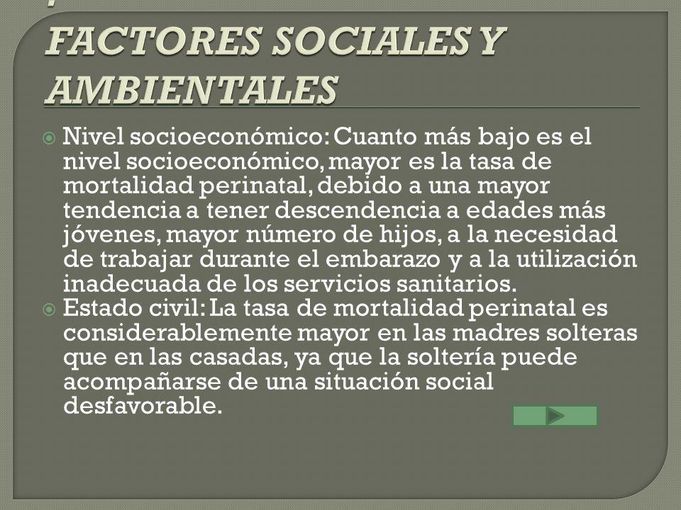 Nivel socioeconómico: Cuanto más bajo es el nivel socioeconómico, mayor es la tasa de mortalidad perinatal, debido a una mayor tendencia a tener desce