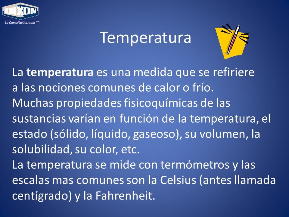 MR La Conexión Correcta Temperatura La temperatura es una medida que se refiriere a las nociones comunes de calor o frío. Muchas propiedades fisicoquí