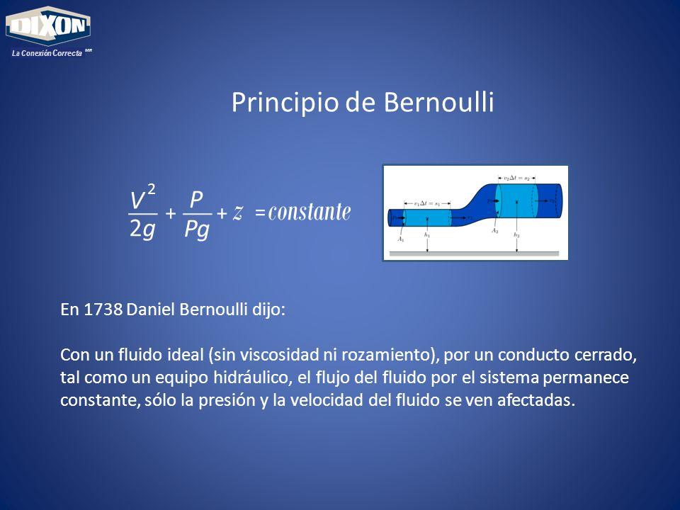 MR La Conexión Correcta En 1738 Daniel Bernoulli dijo: Con un fluido ideal (sin viscosidad ni rozamiento), por un conducto cerrado, tal como un equipo