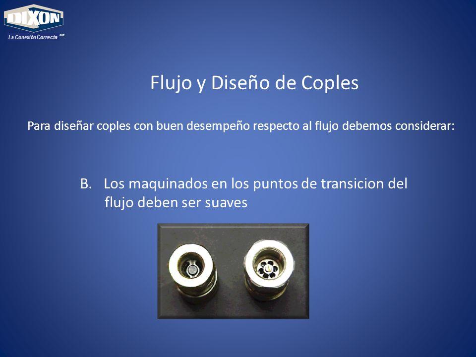 MR La Conexión Correcta Flujo y Diseño de Coples Para diseñar coples con buen desempeño respecto al flujo debemos considerar: B.Los maquinados en los