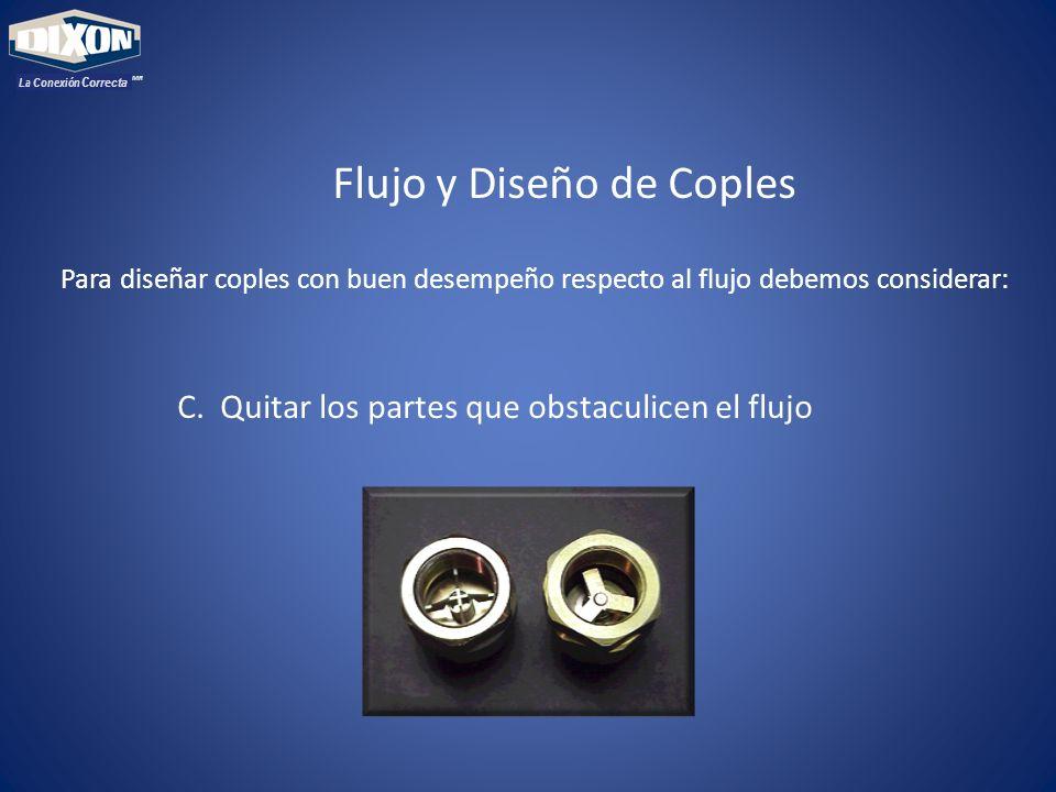 MR La Conexión Correcta Flujo y Diseño de Coples Para diseñar coples con buen desempeño respecto al flujo debemos considerar: C. Quitar los partes que