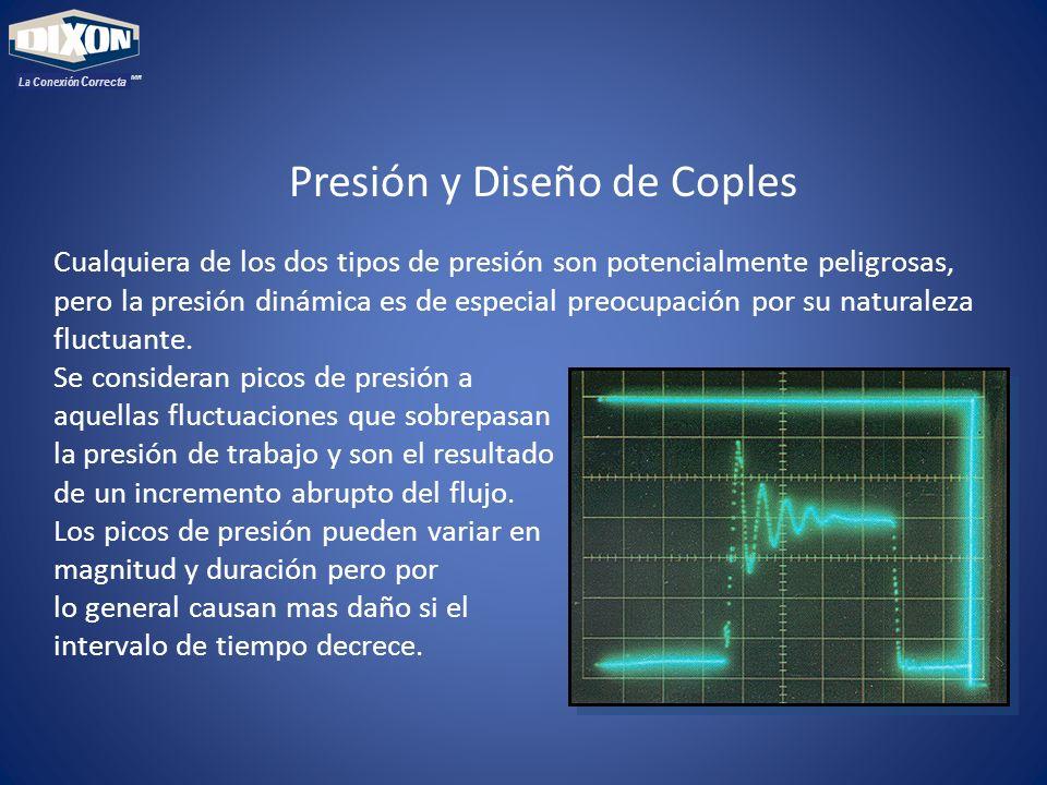 MR La Conexión Correcta Presión y Diseño de Coples Cualquiera de los dos tipos de presión son potencialmente peligrosas, pero la presión dinámica es d