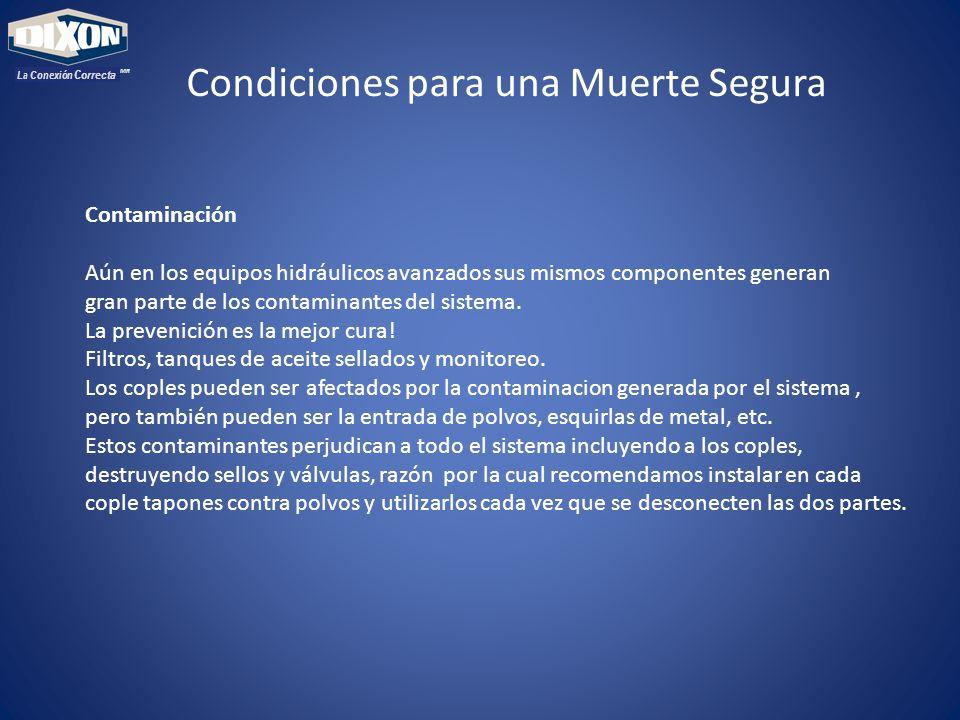 MR La Conexión Correcta Contaminación Aún en los equipos hidráulicos avanzados sus mismos componentes generan gran parte de los contaminantes del sist