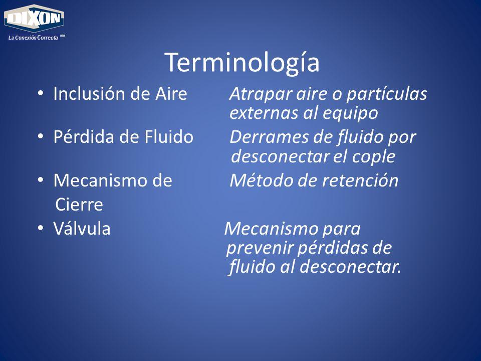Terminología Inclusión de AireAtrapar aire o partículas externas al equipo Pérdida de FluidoDerrames de fluido por desconectar el cople Mecanismo de M