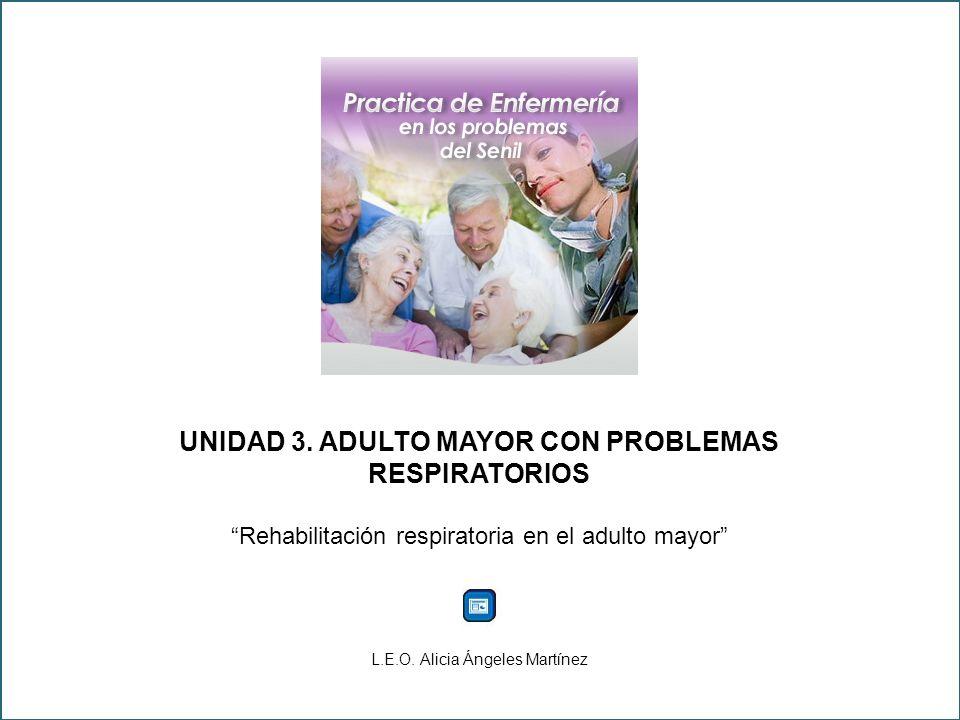 UNIDAD 3. ADULTO MAYOR CON PROBLEMAS RESPIRATORIOS Rehabilitación respiratoria en el adulto mayor L.E.O. Alicia Ángeles Martínez