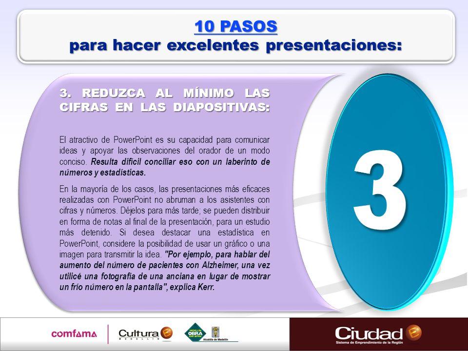 3. REDUZCA AL MÍNIMO LAS CIFRAS EN LAS DIAPOSITIVAS: El atractivo de PowerPoint es su capacidad para comunicar ideas y apoyar las observaciones del or